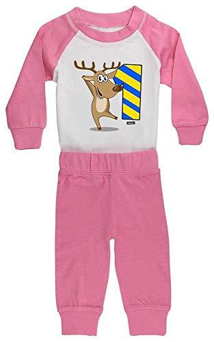 HARIZ HARIZ Baby Pyjama Lustiges Rentier 1 Geburtstag Kinder Baby Inkl. Geschenk Karte Pink/Fuchsia 6-12 Monate