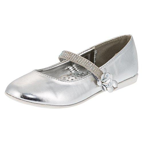 Festliche Mädchen Ballerinas Schuhe mit Klettverschluss in vielen Farben M209si Silber 24