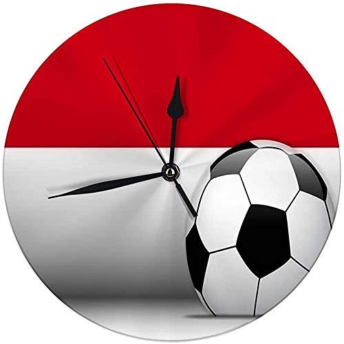 Zseeda Orologio da Parete Moderno Monaco Pallone da Calcio con Bandiera Orologio Decorativo Rotondo Silenzioso 9.8 '