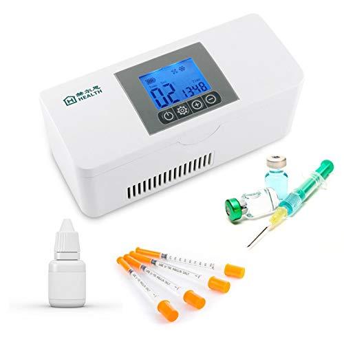 IDABAY Insulin Kühlbox, Medikamente Kühlschrank, Elektrokühler Tragbarer Reisebox Thermostat 2-8Grad mit Insulin, Interferon, Wachstumshormon, Impfstoff, Augentropfen Für Sommer Reise Arbeit/Weiß