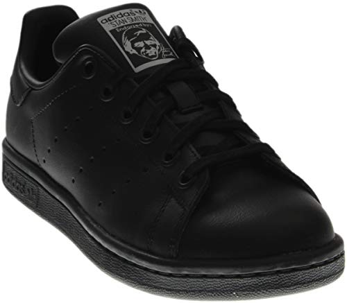 adidas Performance Stan Smith J Tennis Shoe (Big Kid), Black/Black/Running White, 5.5 M US Big Kid