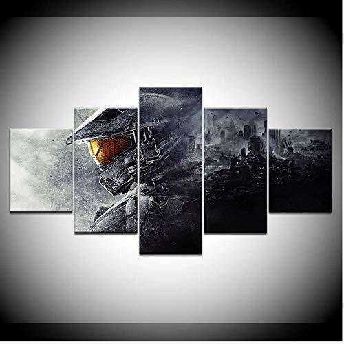 Rjbzd 5 Stück Wandmalerei Leinwand Poster Videospiel Modulare Wandkunst Wohnkultur Kunstdruck Bild Kunstwerk