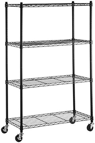 Amazon Basics 4-Shelf Heavy Duty Shelving Storage Unit on 3'' Wheel Casters, Metal Organizer Wire Rack, 36'L x 14'W x 57.75'H - Black