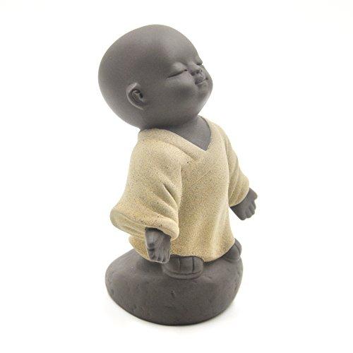 ELITEA Handmade Yixing Pottery Zisha Tea Pet Little Monk (10 cm x 5.5 cm, Yellow)