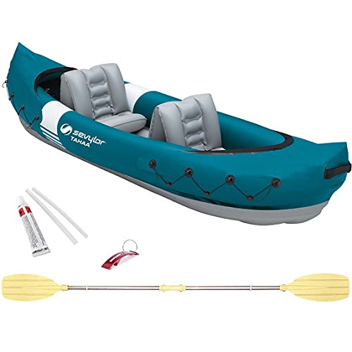 Set de Kayak Tahaa Hinchable 2 Plazas + Pagaia + Kit Reparación Kayak Hinchable + Llavero Bricolemar de Regalo