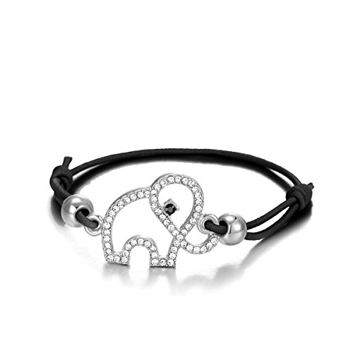 Frauen Bettelarmband Lucky Elephant Armband Knoten Freundschaft Armreif Schwarz Verstellbare Manschette Armband mit Kristall (Versilbert)