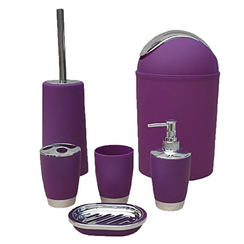 MonkeyJack 6PCS Solid Luxury Plastic Bathroom Accessories Set Bath Set Bath Storage 8 Colors - Purple, as described