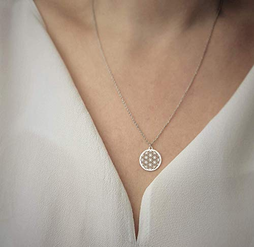 SCHOSCHON Damen Halskette mit Blume des Lebens Anhänger 925 Silber ø 15 mm // Mama Mutter Kette Schmuck Lebensblume Silberkette Geschenk