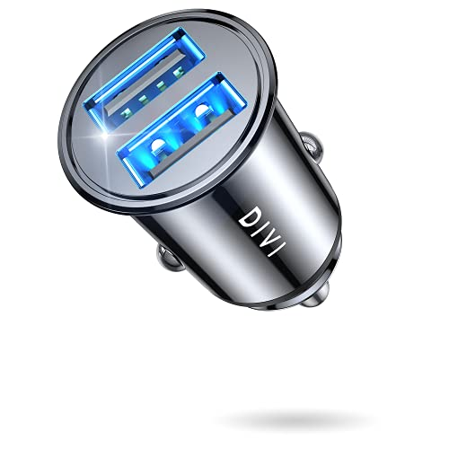 DIVI Zigarettenanzünder USB Ladegerät, 24W/4.8A Metall Mini Kfz Ladegerät 2-Port Schnellladung Auto Ladegerät Kompatibel mit iPhone 13/12/11/Pro/x/7/6, iPad Air 2/Mini 3, Galaxy S9/S8 (Schwarz)