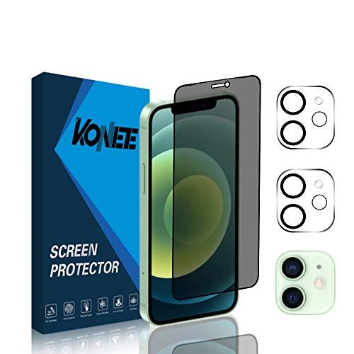 """KONEE [1 + 2 Piezas] Protector de Pantalla de Privacidad + 2 Piezas Protector de Lente de Cámara Compatible con iPhone 12 6.1"""", Anti Espía Anti-arañazos Cristal Templado para iPhone 12 6.1"""""""