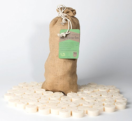Kerzenkiste Nachfüllpack Rapswachs - Teelichter im Jutebeutel 70 Stück