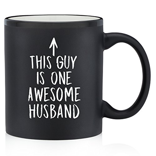 One Awesome Husband Funny Mug - Best Christmas, Anniversary, Birthday Gifts for Husband, Men, Him - Unique Xmas Present Idea from Wife - Fun & Cool Novelty Coffee Cup for the Mr, Hubby (Matte Black)