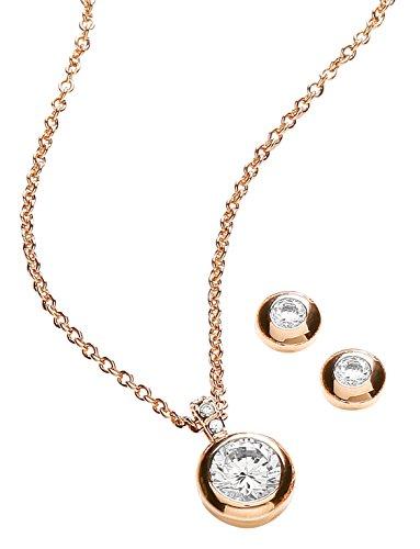 Buckley London Damen-Schmuckset Halskette + Ohrringe Messing teilvergoldet Kristall weiß Rundschliff - 430000002