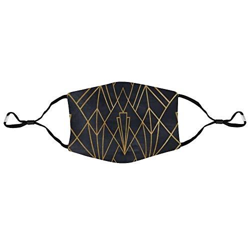 Dkisee Fashion Unisex Gesichtsmaske Gold und Schwarz Anti-Staub-Maske Verstellbare Ohrschlaufe Gesichtsmaske Outdoor Schutzmaske, Farbe 2, 20x15cm