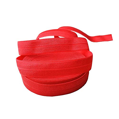 5/8 Inch - Fold Over Elastics - 5 Yard Roll Foes are Great for DIY Crafts, Hairbands, Elastic Ribbons and Sewing Projects. (Poppy Red)