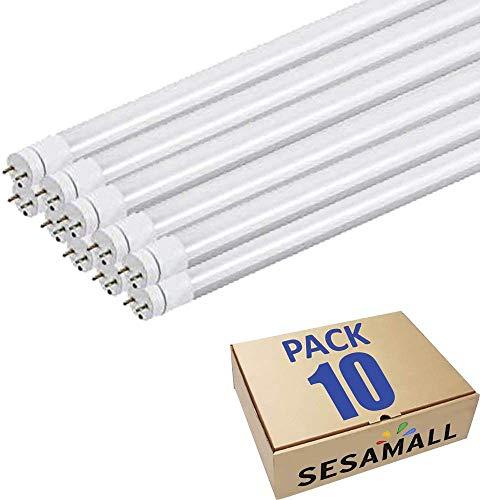 SET 10 Tubo Neon Led 60 cm 10W Attacco T8 Luce Bianco FREDDO 6000-6500 K 990 Lumen Equivalente 100 Watt Copertura Opaca