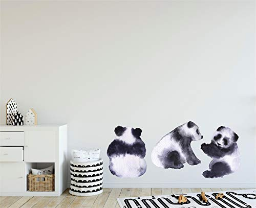 Watercolor Panda Bears Wall Decal Black & White Pandas Wall Sticker Removable Fabric Vinyl Nursery Decor
