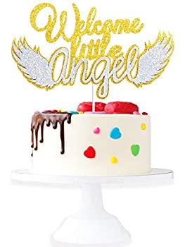Welcome Little Angel Baptism Cake Topper - Baby Shower Glitter Angel Wings Cake Décor - Pregnancy Announcement Hello Baby Party Decoration