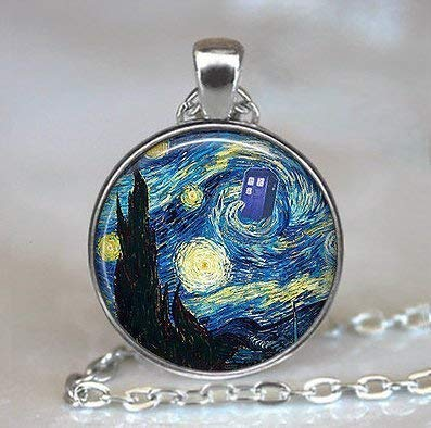 Dr Who Starry Night Pendant, Vincent and The Doctor Dr Who Jewelry,