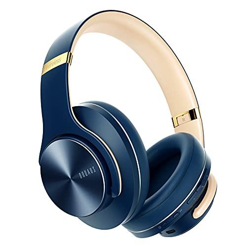 DOQAUS Auriculares Inalámbricos Diadema, [52 Hrs de Reproducción] Hi-Fi Sonido, Cascos Bluetooth con 3 Modos EQ, Micrófono Incorporado y Doble Controlador de 40 mm, para Móviles/Xiaomi (Azul Marino)