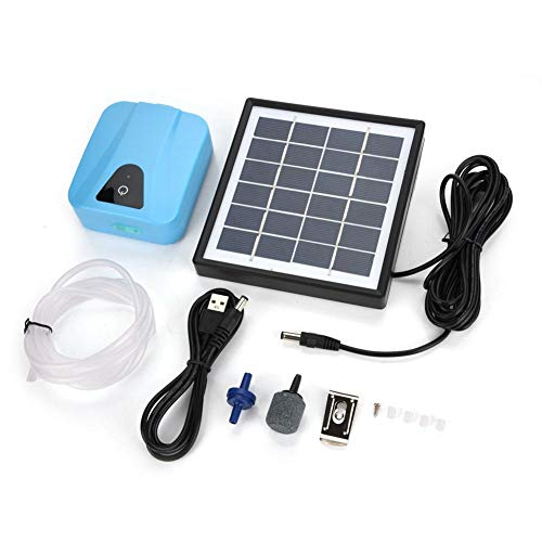 Aquarium Air Pump ,Rechargeable Air Pump for Fish Pond--Solar Powered Waterproof USB Oxygenator Aerator Air Pump Oxygen for Outdoor Pool Pond for Bomba Solar para estanque