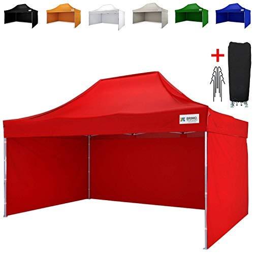 BRIMO ® Faltzelt Partyzelt faltpavillion + Gratis 3 Wände und 100% WASSERDICHT (3x4,5m, Rot)
