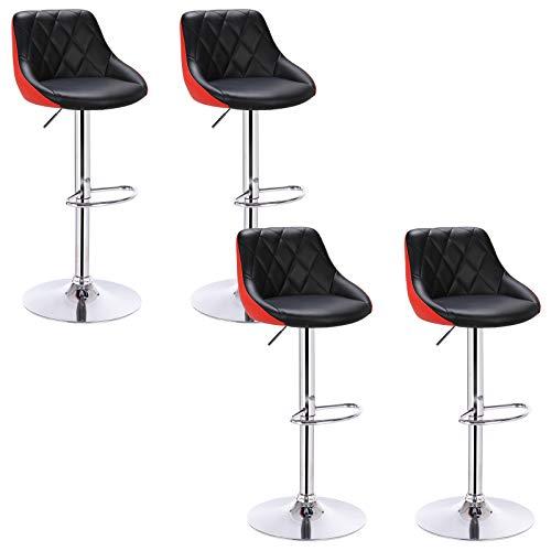 WOLTU Lot de 4 Tabourets de Bar Design Rotatif et réglable Fait de Acier chromé et Similicuir,Noir+Rouge BH30szr-4