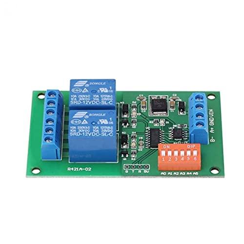 Módulo de relé de entrada de 2 canales de retransmisión Junta RS485 Modbus RTU EN Dual Command puerto serie remoto interruptor de control de Azul, el relé