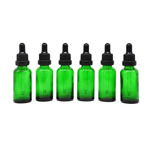 Yizhao Verde Frasco Cuentagotas Cristal 30ml, Botellas Cuentagotas con [Pipeta Cuentagotas Cristal], para Aceite Esencial, Masaje,Fragancia, Aromaterapia, Laboratorio, E-Líquidos - 6Pcs