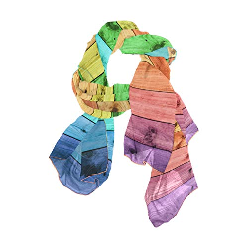 Pañuelo estampado de madera arcoíris para mujer ligero y a la moda...