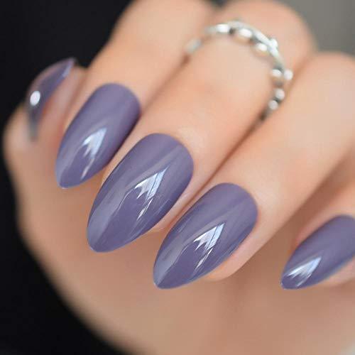 CLOAAE Studio Cover 24 Artificial Nails Taro Purple Shiny False Nails Medium Plastic Different Sizes Easy To Use