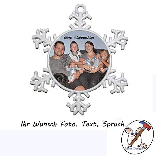Schneeflocke mit Foto/Christbaumanhänger mit Foto/Metallanhänger für den Weihnachtsbaum mit Foto/Weihnachtsgeschenk mit Foto/personalisierte Weihnachtsdeko/Weihnachtsgeschenk