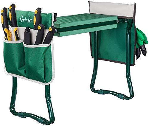 Rodillera para jardín y asiento con 2 bolsas de herramientas adicionales, Bolsa de herramientas con cinturón ajustable, Banco de jardín portátil Almohadilla de espuma EVA con almohadilla para arrodill