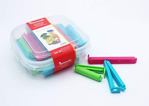 Haioo 30 Pinzas Cierra-Bolsas Pinza de Plástico con Caja de Diferentes Tamaños para Bolsas de Alimentos Clip de Sellado de Bolsas