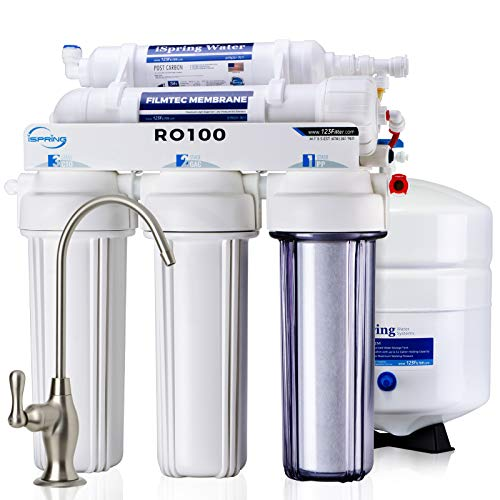 iSpring RO100 Top Quality Under Sink 5-Stage Reverse Osmosis Drinking Water Filtration System High Capacity 100 GPD Fast Flow, 1:1 Pure to Waste Ratio, US Made Filters