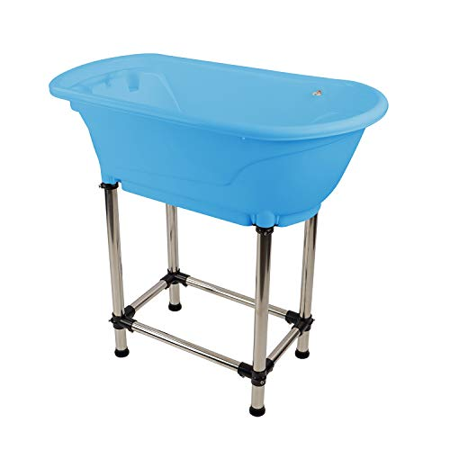 MiMu Raised Dog Bathtub in Blue - Pet Grooming Tub Booster Elevated Dog Bath Tub for Small to Medium Sized Cats or Dogs