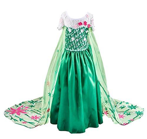 Monissy Prinzessin ELSA Kostüm Karneval Kleidung Verkleidung Party Kleid Cosplay Kostüm Set mit Zubehör Party Kostüme für Mädchen Weihnachten Fasching Halloween Gr.110-150 Grün
