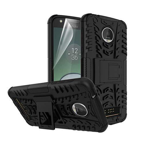betterfon   Outdoor Handy Tasche Hybrid Hülle Schutz Hülle Panzer TPU Silikon Hard Cover Bumper für Lenovo Moto Z Play Schwarz