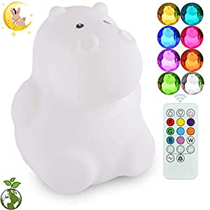 ATOMFIT LED Nursery Night Lights for Kids: Cute Animal Silicone Baby Night Light with Touch Sensor and Remote – Portable and Rechargeable Infant or Toddler Cool Color Changing Bright (Hippo)