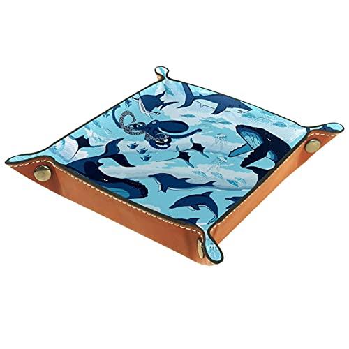 Bandeja de dados, plegable de cuero para dados, para juegos de dados, D&D y otros juegos de mesa, Ocean Shark Blue Octopus