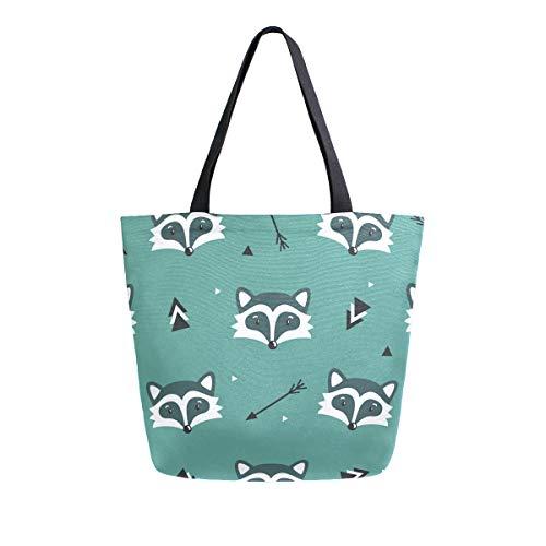 ZZKKO Waschbär-Einkaufstasche, Segeltuch, Schultertasche, lässig, für Damen, Lehrer, Tiere, Baumwolle, Einkaufstasche, Handtasche, wiederverwendbar, vielseitig verwendbar