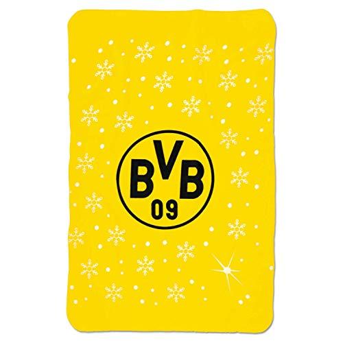 Borussia Dortmund Fleecedecke - Winter- Decke gelb 100 x 150 cm, Kuscheldecke BVB 09 (L)
