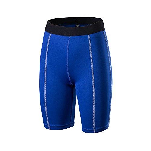 Barrageon Shorts de Compression Élastique pour Femmes, Collant de Sports Court Base Layer Respirant Séchage Rapide pour Exercice, Fitness, Sports Intérieur/Extérieur - Bleu - M