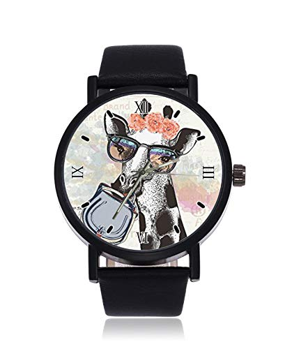 Divertida moda jirafa en gafas hipster sosteniendo bolsa femenina ultrafino hombres mujeres relojes de pulsera de negocios casual deporte reloj de cuarzo para mujeres hombres impermeable reloj unisex