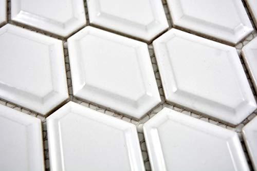 Mozaïek tegel keramiek diamant metro wit glanzend tegelspiegel keuken MOS13MD-0101_m