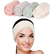 Whaline 4 Pack Spa Facial Headband Super Absorption Makeup Hair Wrap Adjustable Coral Fleece Hair Band Soft Towel Head Band for Face Washing, Shower Sports Yoga (Pea Green, Pink, Beige, Light Gray)