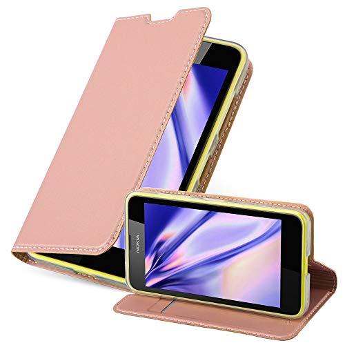 Cadorabo Hülle für Nokia Lumia 630/635 - Hülle in ROSÉ Gold – Handyhülle mit Standfunktion & Kartenfach im Metallic Erscheinungsbild - Hülle Cover Schutzhülle Etui Tasche Book Klapp Style