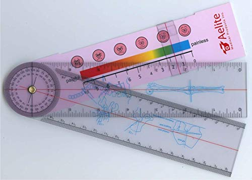 A+Elite Spinal Goniometer Spine Orthopedics Ruler Test Pain Rating Scale in/cm/mm Physical Therapy 360 Degree Axis & Range of Motion Medical Diagnostic Tool