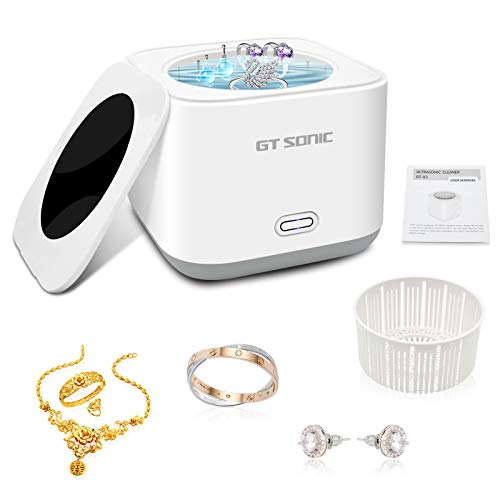 Mini Ultrasonic Cleaner, 180ML 43kHz Portable Professional Ultrasonic Jewelry Cleaner,5 Minutes One Button Cleaner Machine with Basket for Cleaning Jewelry,Silver,Rings,Coin