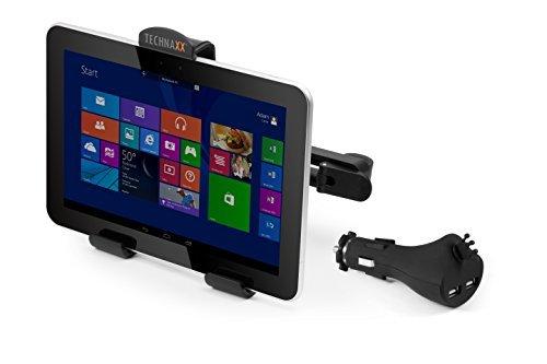 Technaxx 4572 Car Charger Set TE07, Kopfstützenhalterung für Tablet/PC/Smartphone mit Doppel-USB-Ladegerät by Technaxx
